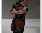 Black Orange Blue Floral Cotton Jersey 3/4 Sleeves Mini Qipao Cheong-sam Dress