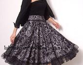 Audrey Hepburn Black Grey Floral Cotton Sateen Pleated Full Circle Long Skirt FREE SHIPPING International
