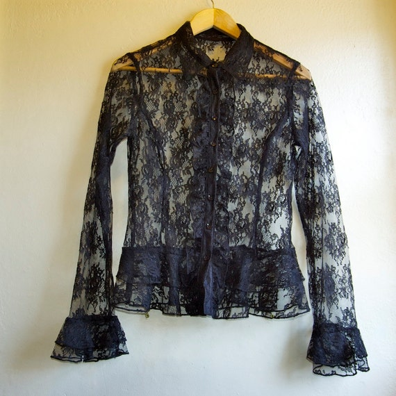SALE vintage black floral lace ruffled long sleeve shirt small