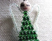 Handmade Green Angel Ornament with Handpainted Face