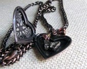 Antiqued Copper Heart Locket with Butterfly