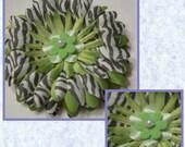 Lime Green and Zebra Print Daisy Hair Flower Photo Prop Toddler Girls Hair Clip