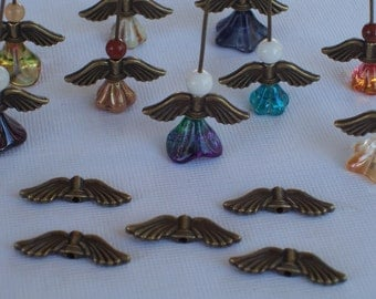 Angel Wings Antique Bronze 21mm x 6.5mm (24)