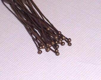 Ball Headpins Antique Brass (50)