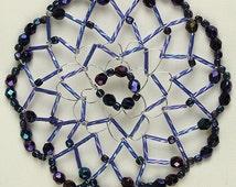 Navy Sparkle  Handmade Woman's Beaded and Crystal Kippah