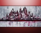 Large Painting Abstract Original Modern Cityscape Art by Gabriela 48x24