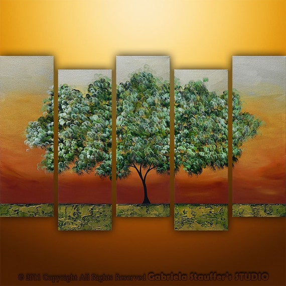 Abstract Modern Landscape Tree Asian Art by Gabriela 50x30 Metallic Large