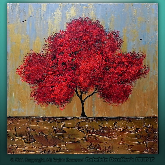 Abstract Modern Textured Original Landscape Tree Art by Gabriela 20x20x1.5