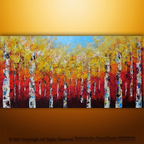 Abstract Modern Painting  Landscape Birch Trees Art by Gabriela 48x24 Large