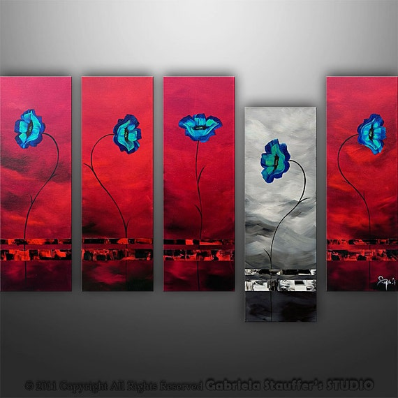 Abstract Floral Modern Painting Poppies Original Art by Gabriela 50x30 LARGE