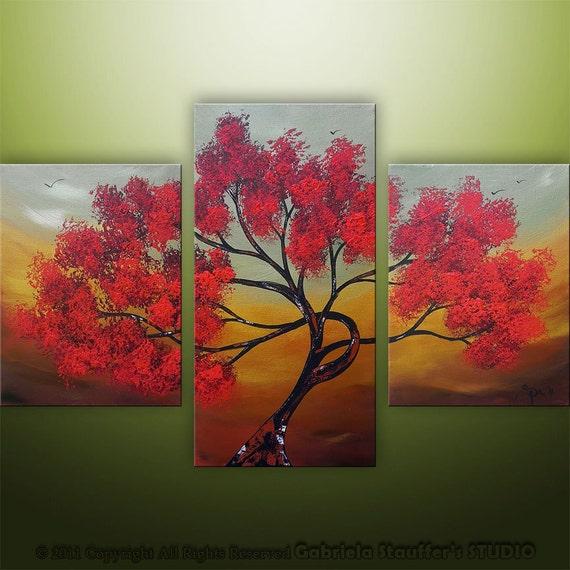 Abstract Modern Landscape Asian Tree Art by Gabriela 36x24 Metallic