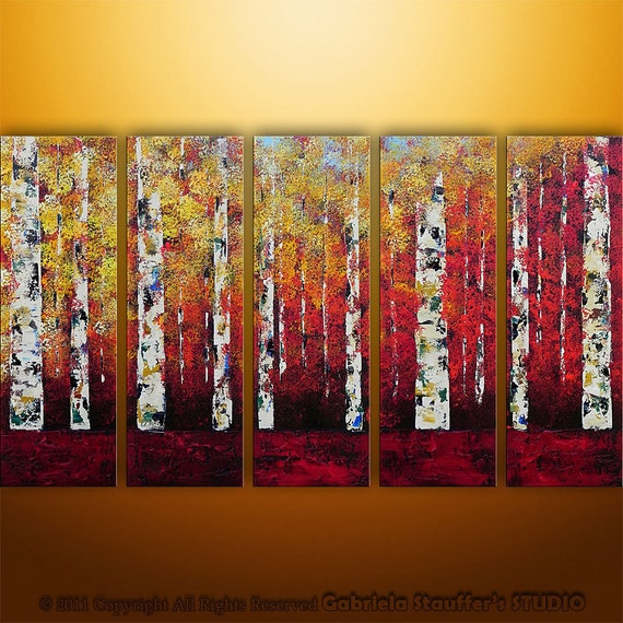 Abstract Modern Painting  Landscape Birch Trees Art by Gabriela  50x30