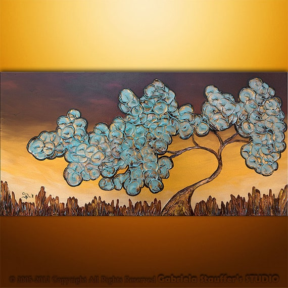 3D Original Modern Landscape Tree Textured Painting Art by Gabriela 48x24 Metallic