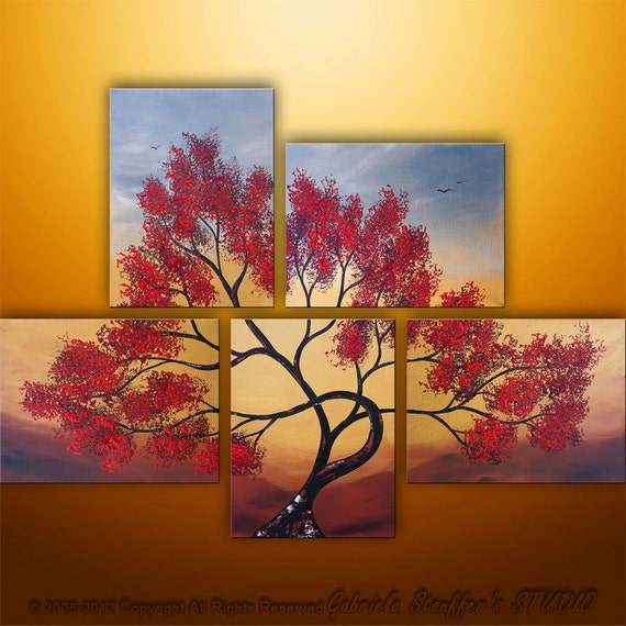 Abstract Modern Landscape Tree Asian  Art by Gabriela 44x32  Metallic