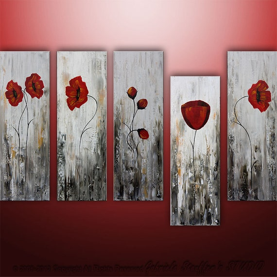 LARGE Abstract Modern Poppies Painting Original Floral Art by Catalin 50x30