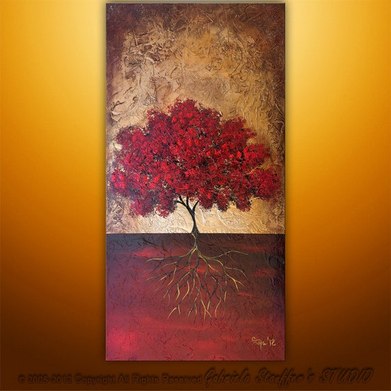 Abstract Surreal Modern Original Textured Tree Art Painting by Gabriela 48x24