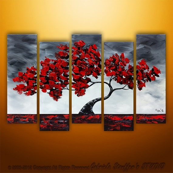 Abstract Modern Landscape Tree Palette Knife Art by Gabriela 50x30 Large, black white red