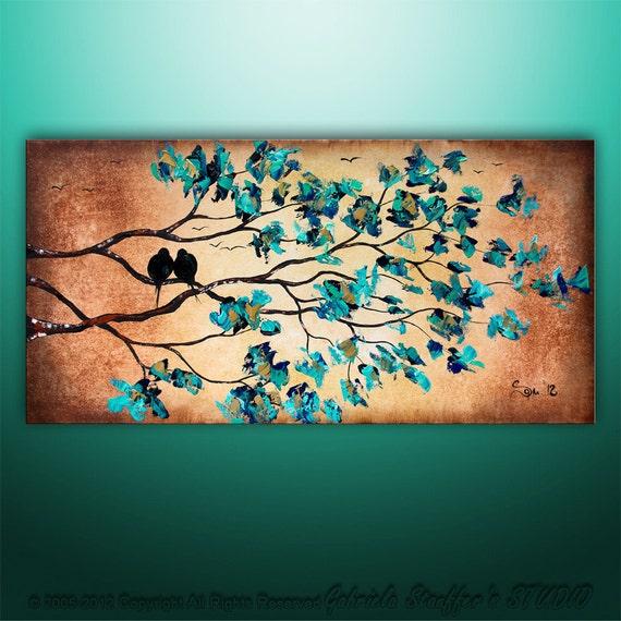 Original Palette Knife Modern Birds Tree Original Painting Art by Gabriela 48x24