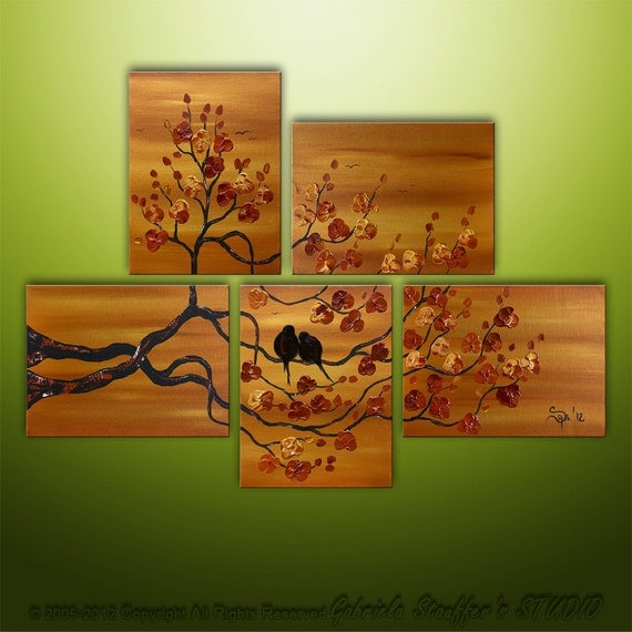 Asian Tree Blossom Landscape Birds Modern Original Art by Gabriela 44x32 Metallic Painting