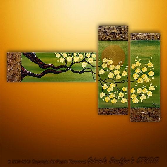 Original Modern Landscape Asian Modern Tree Textured Blossom Painting Art by Gabriela 50x30 Metallic