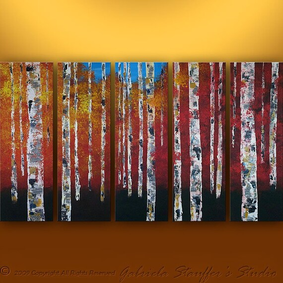 Abstract Modern Landscape Birch Tree Art by Gabriela 50x30 Large