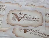 Valentine Stickers - Envelope Seals - Vintage Label