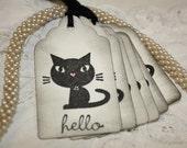 Black Cat Gift Tags - Black Shabby Kitty