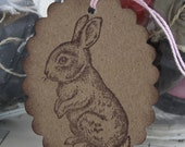 Spring Gift Tags - Bunnies - Pink and White Baker's Twine - Brown Kraft Paper