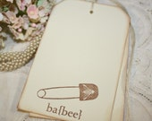 Baby Shower Wish Tree Tags - Vintage Bee Diaper Pin - Set of 12