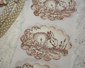 Spring Stickers - Envelope Seals - Garden Bunny