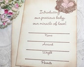 Birth Announcements - Bird Nest with Pink Eggs - Baby Girl - Set of 12