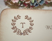 Wedding Wish Cards - Personalized Monogram - French Wreath - Wishes for Bride and Groom - Set of 25