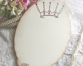 Baby Shower Wish Tags - Pink Princess Crown - Wishes - Vintage Label Shape - Set of 12