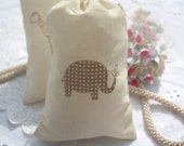 Muslin Drawstring Favor Bags - Baby Shower - Wedding - Birthday - Favors - Stamped Elephants