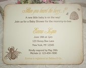 Baby Shower Invitation - Honey Bee - Birthday - Bridal - Custom Invitation - Neutral - Christening