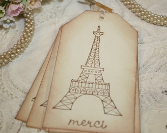 Gift Tags - Eiffel Tower - Merci - French Inspired Collection