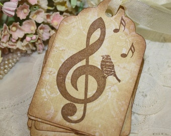 Gift Tags - Bird With Music Notes - Vintage Inspired