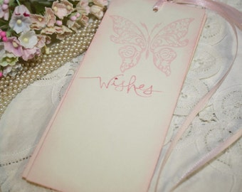 Wish Tree Tags - Wedding Wish Tags - Butterfly Wishes in Pink - Set of 25