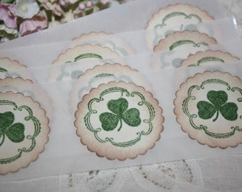 St Patrick's Day Stickers - Envelope Seals -  Green Shamrocks