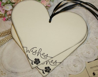 Wish Tree Tags - Wishes - Hearts in Black and Silver -  Set of 25