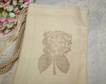 Muslin Favor Bags - Wedding - Birthday - Favors - Stamped Hydrangeas