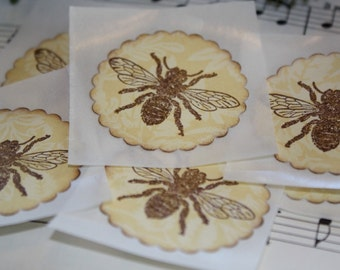 Handmade Stickers - Envelope Seals - Honey Bees - Vintage Inspired