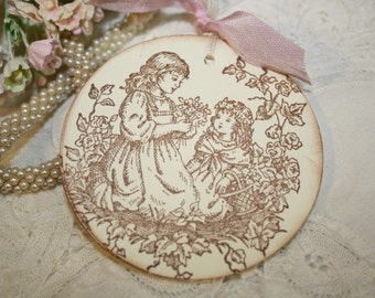 Gift Tags -  Mother and Daughter in Garden - Vintage Inspired