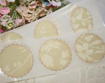 Stickers - Envelope Seals - Wedding Invitation Seals - Vintage Style Ivory Flocking