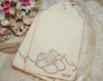 Baby Shower Wish Tree Tags - Vintage Baby Shoes - Set of 12