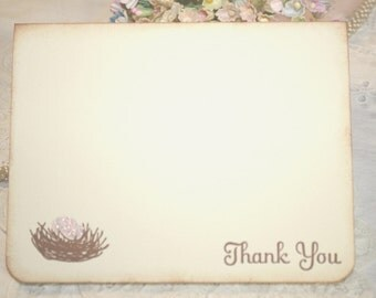 Baby Shower Thank You Cards - Bird Nest With Pink Eggs - Baby Girl - Set of 12
