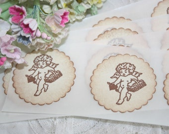 Stickers - Envelope Seals - Vintage Inspired Cherub - Wedding Stickers