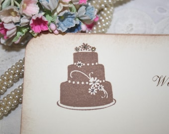 Wedding Wish Cards - Wedding Cake with Flowers - Wishes for Bride and Groom - Set of 25