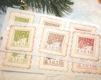 Christmas Stickers - Envelope Seals -  Peace on Earth