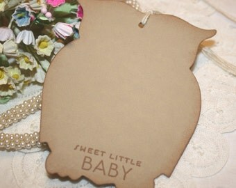 Baby Shower Wish Tree Tags  - Neutral Baby - Soft Brown Owls -  Set of 12